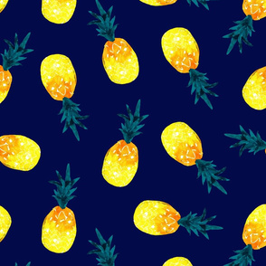 watercolor pineapple summer_navy natural watercolor