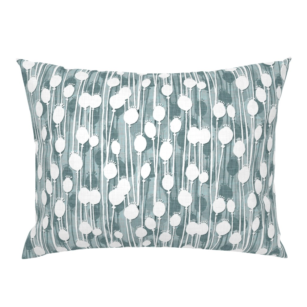 Campine Pillow Sham featuring Poppy Heads slate frost by spellstone