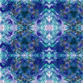 Blue Purple Teal Painting 01 Symmetrical Kaleidoscopic