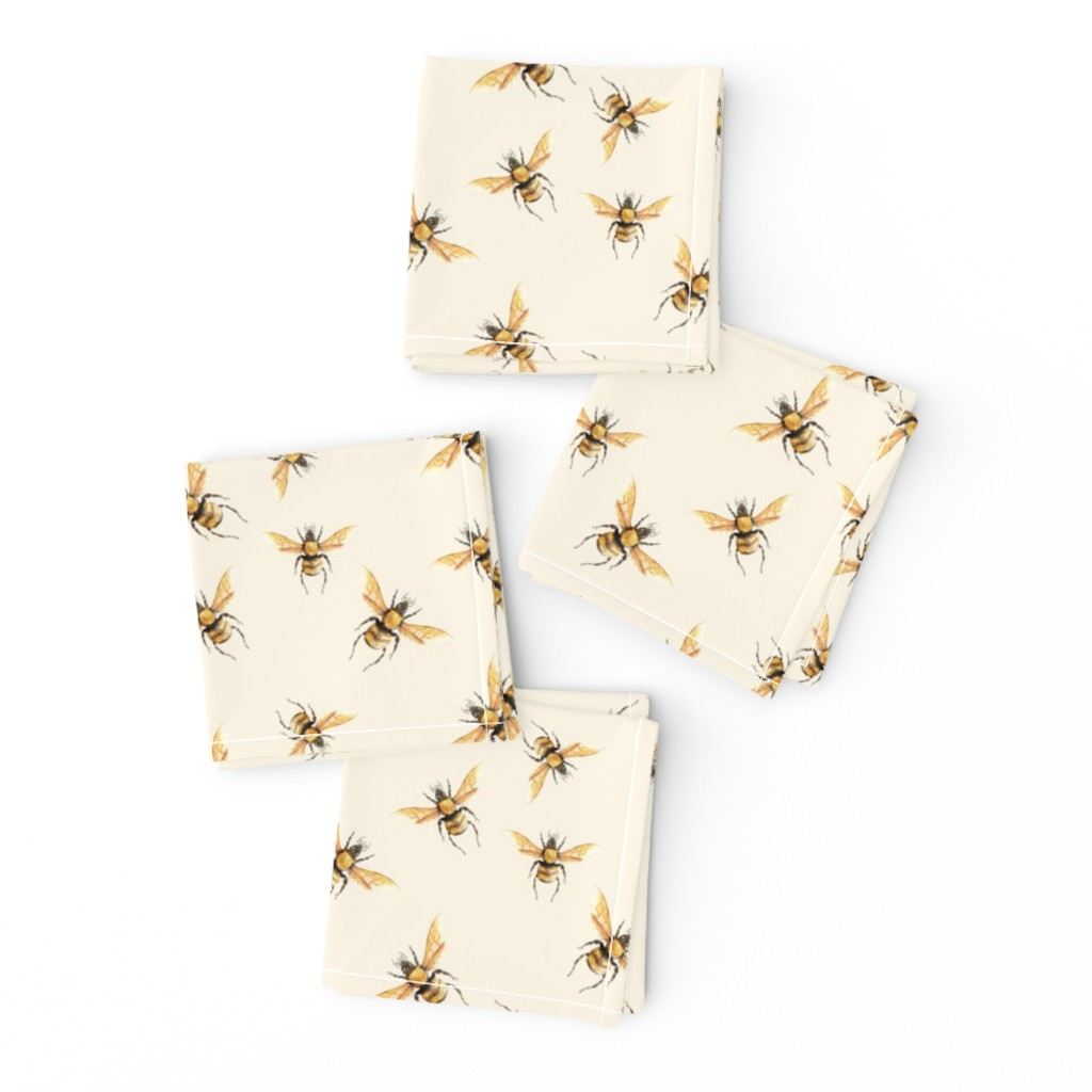 Frizzle Cocktail Napkins featuring Bee in Golden on Cream Background by thistleandfox
