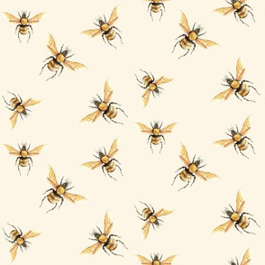 Bee in Golden on Cream Background