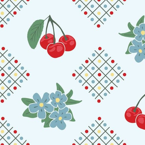 1940's Style Kitchen Cherry Wallpaper in Blue: Large Print