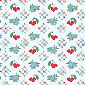 1940's Style Kitchen Cherry Wallpaper in Blue: Small Print