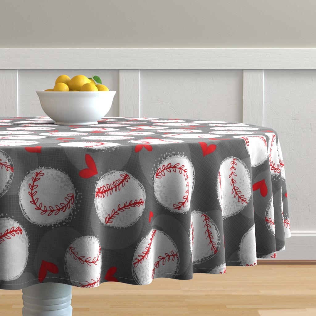 Malay Round Tablecloth featuring Baseball Lovers Unite! Large Scale by pinky_wittingslow