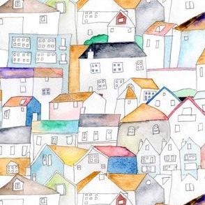 Watercolor Rooftops