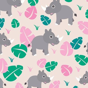 Cute Rhino jungle woodland animals adorable kids illustration pattern in pink