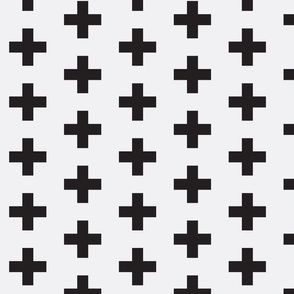 Black Swiss Cross on White