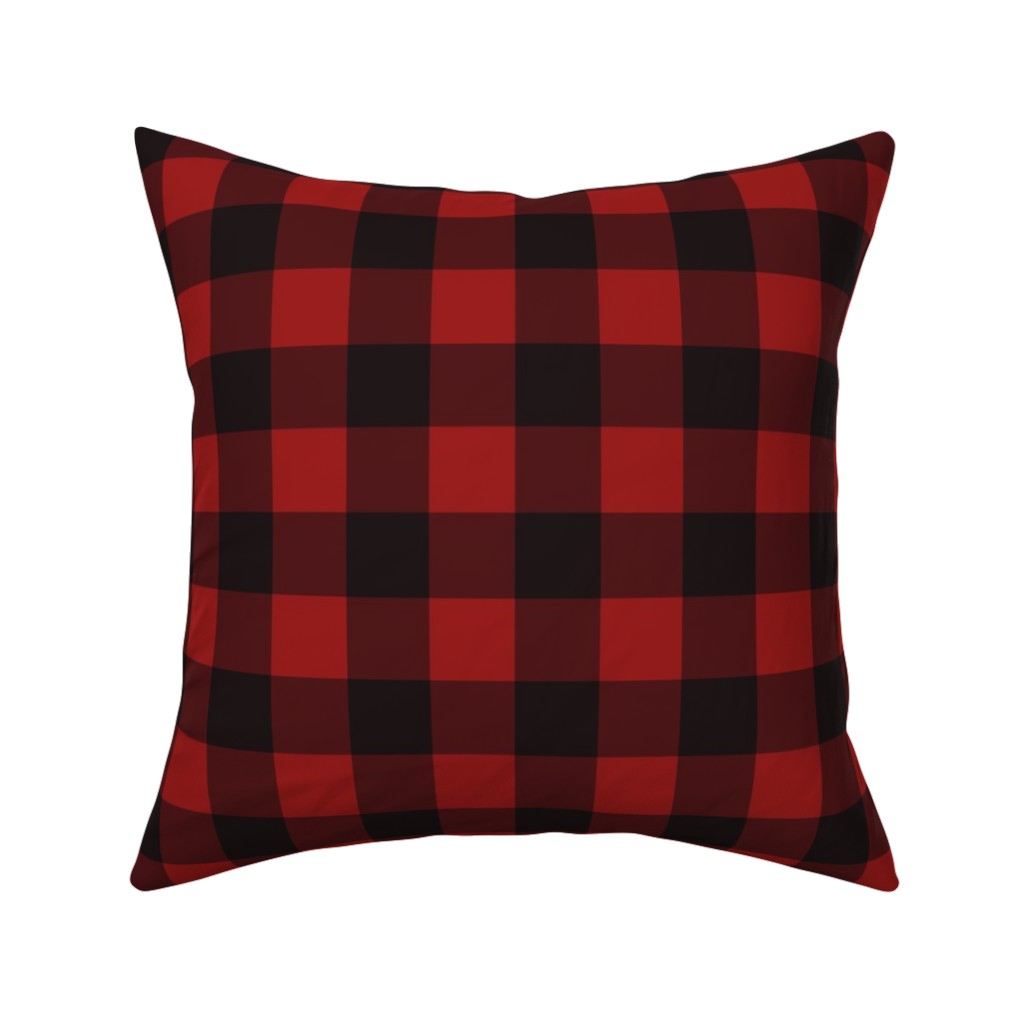 Catalan Throw Pillow featuring Buffalo Plaid Red by portage_and_main