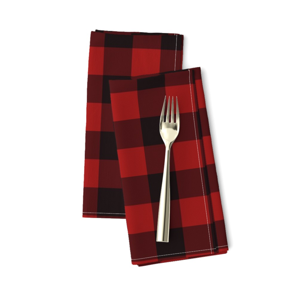 Amarela Dinner Napkins featuring Buffalo Plaid Red by portage_and_main