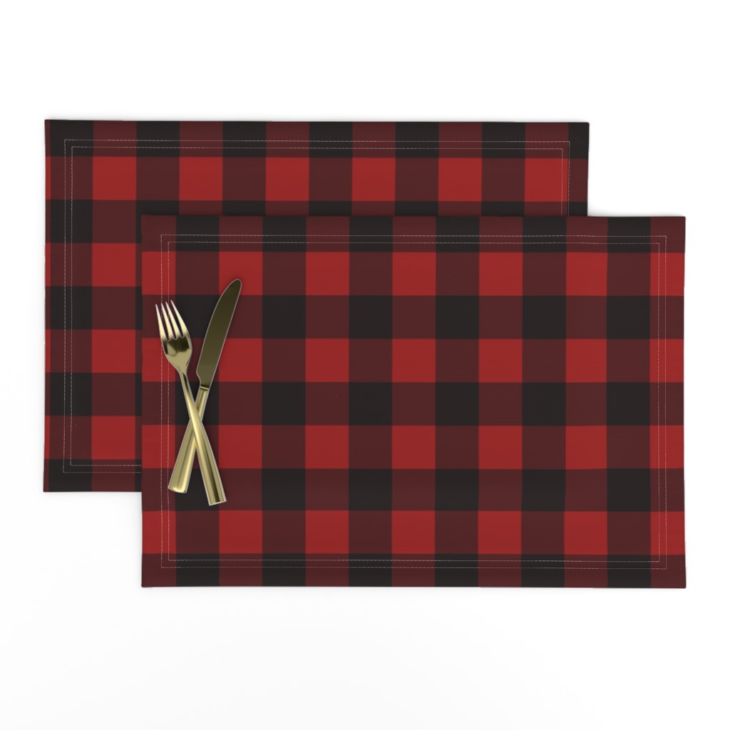 Lamona Cloth Placemats featuring Buffalo Plaid Red by portage_and_main