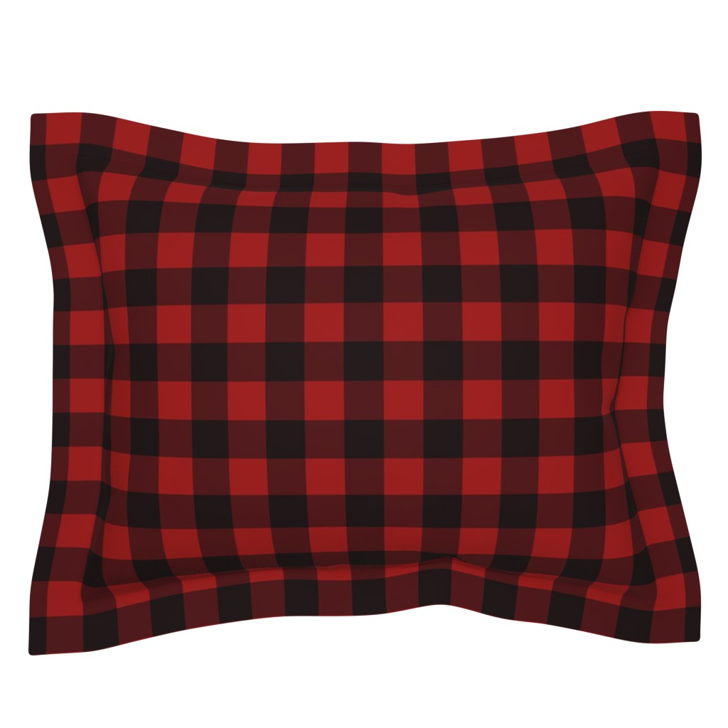 Sebright Pillow Sham featuring Buffalo Plaid Red by portage_and_main