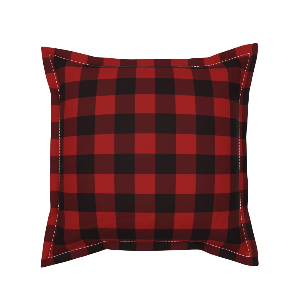 Serama Throw Pillow featuring Buffalo Plaid Red by portage_and_main