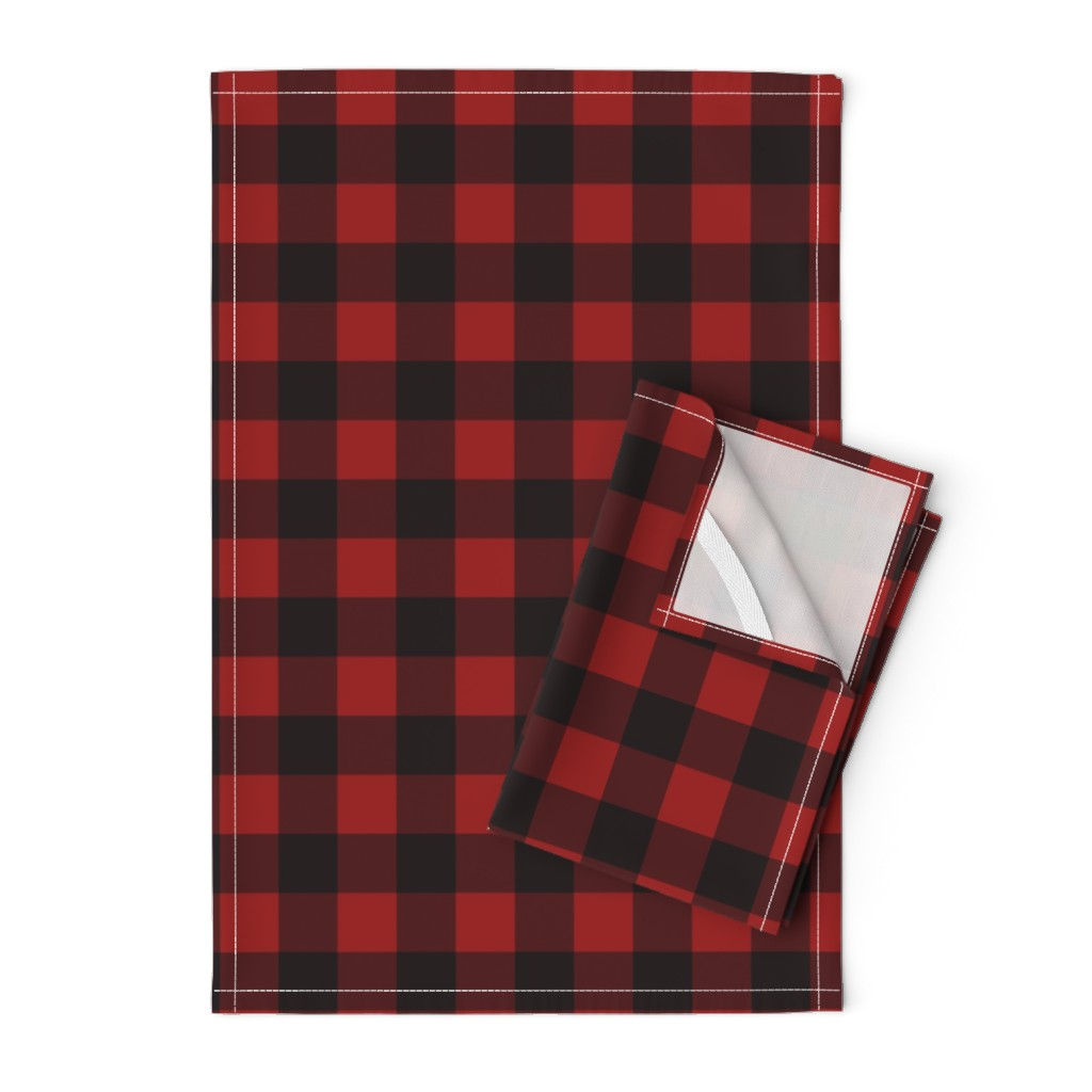 Orpington Tea Towels featuring Buffalo Plaid Red by portage_and_main