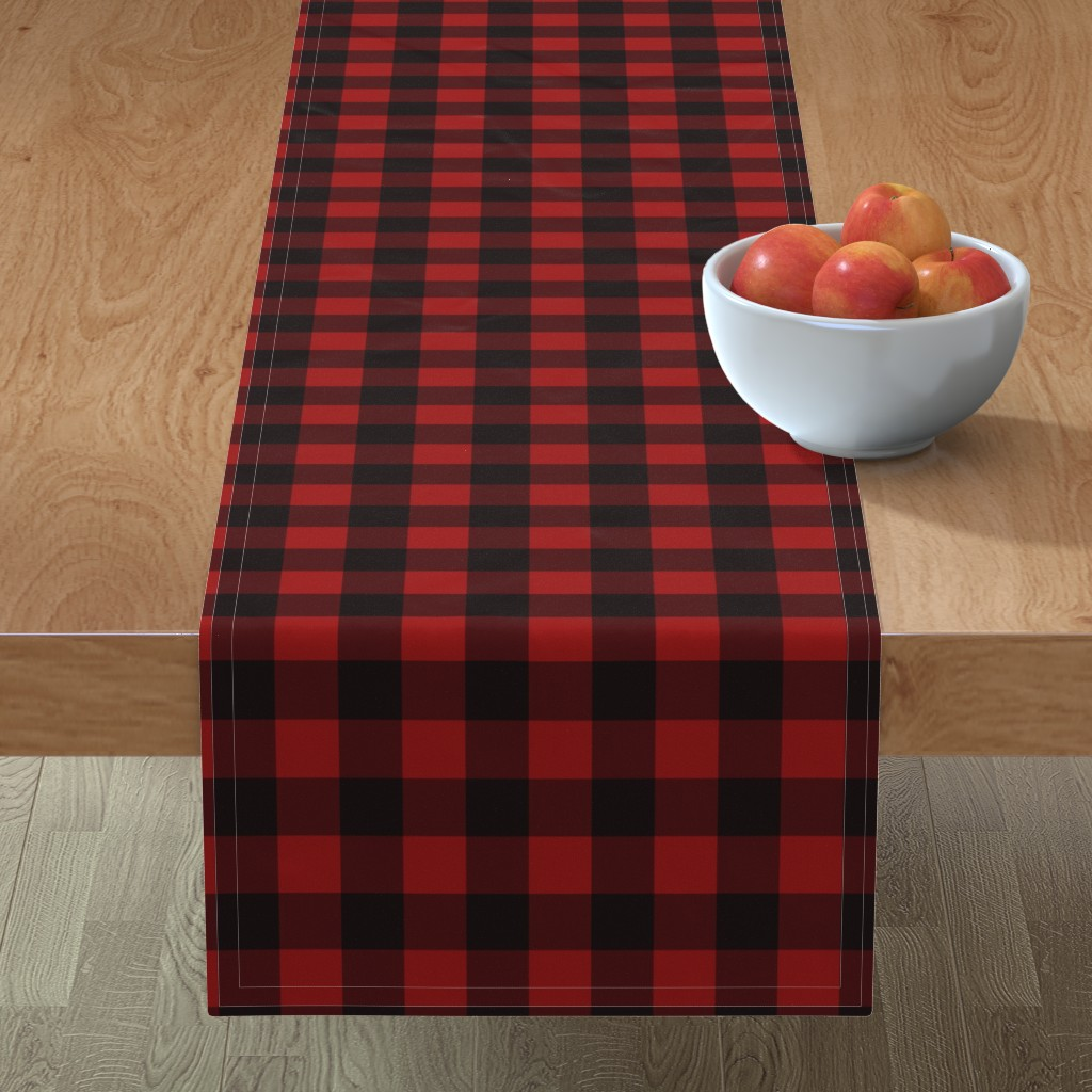 Minorca Table Runner featuring Buffalo Plaid Red by portage_and_main