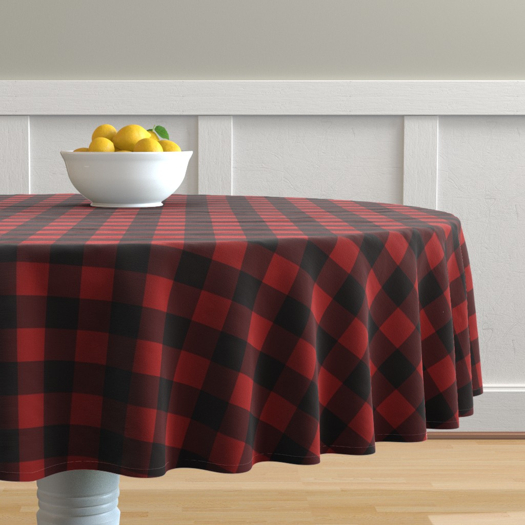 Malay Round Tablecloth featuring Buffalo Plaid Red by portage_and_main