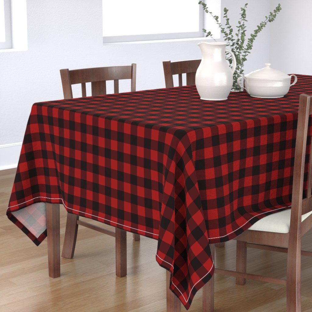 Bantam Rectangular Tablecloth featuring Buffalo Plaid Red by portage_and_main