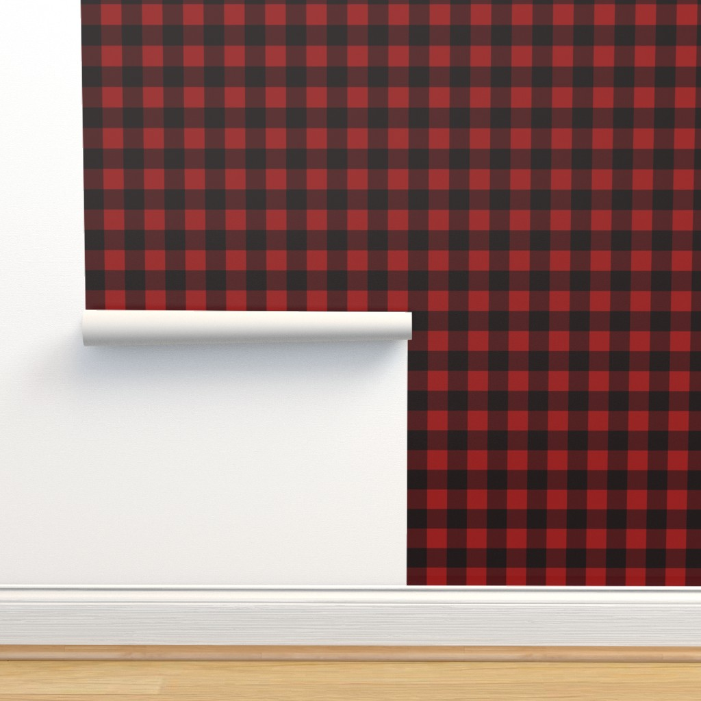 Isobar Durable Wallpaper featuring Buffalo Plaid Red by portage_and_main