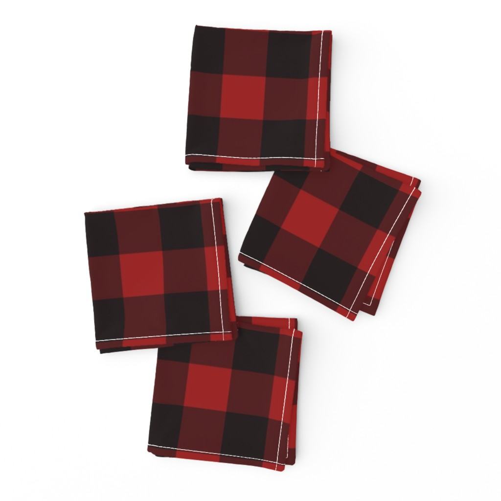 Frizzle Cocktail Napkins featuring Buffalo Plaid Red by portage_and_main