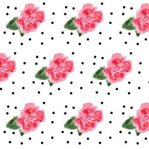 Camelias with black polka dots