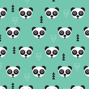 Cute geometric panda bear zoo mint gender neutral animals design