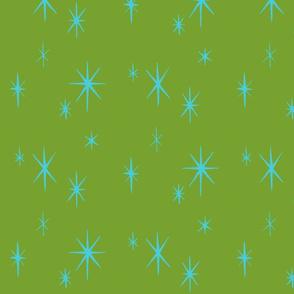 Mixers, Starbursts, aqua on green