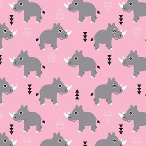 Cute Rhino jungle safari girls geometric woodland animals adorable kids illustration pattern in pink