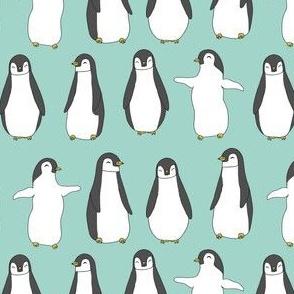 penguin // penguins pingu aqua mint winter birds fabric cute baby penguin design