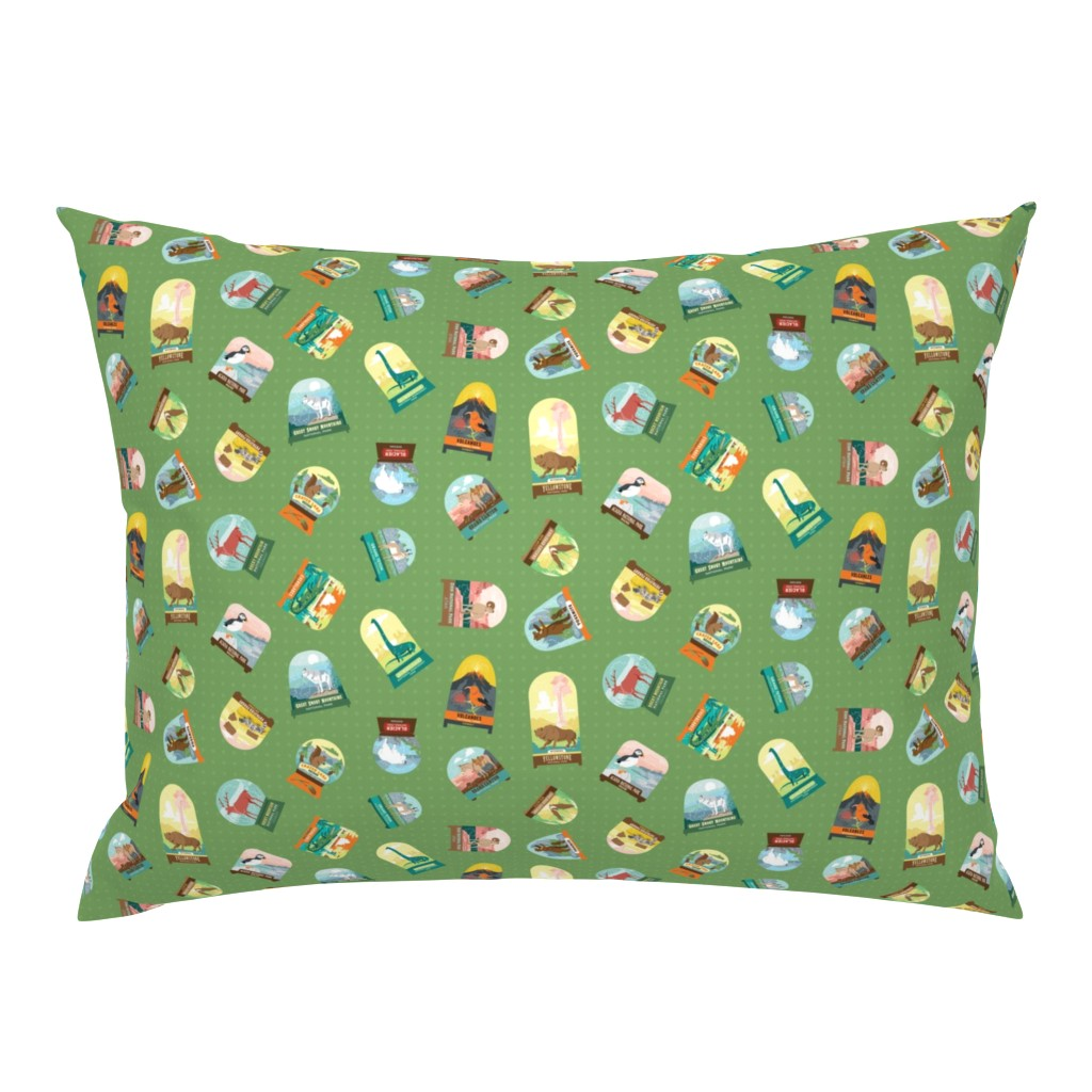 Campine Pillow Sham featuring National Parks Snowdomes Small Scatter in Forest Green by pinkowlet