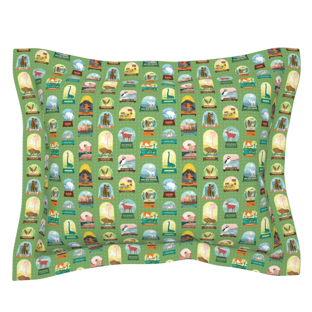 Sebright Pillow Sham featuring National Parks Snow Domes in Green by pinkowlet