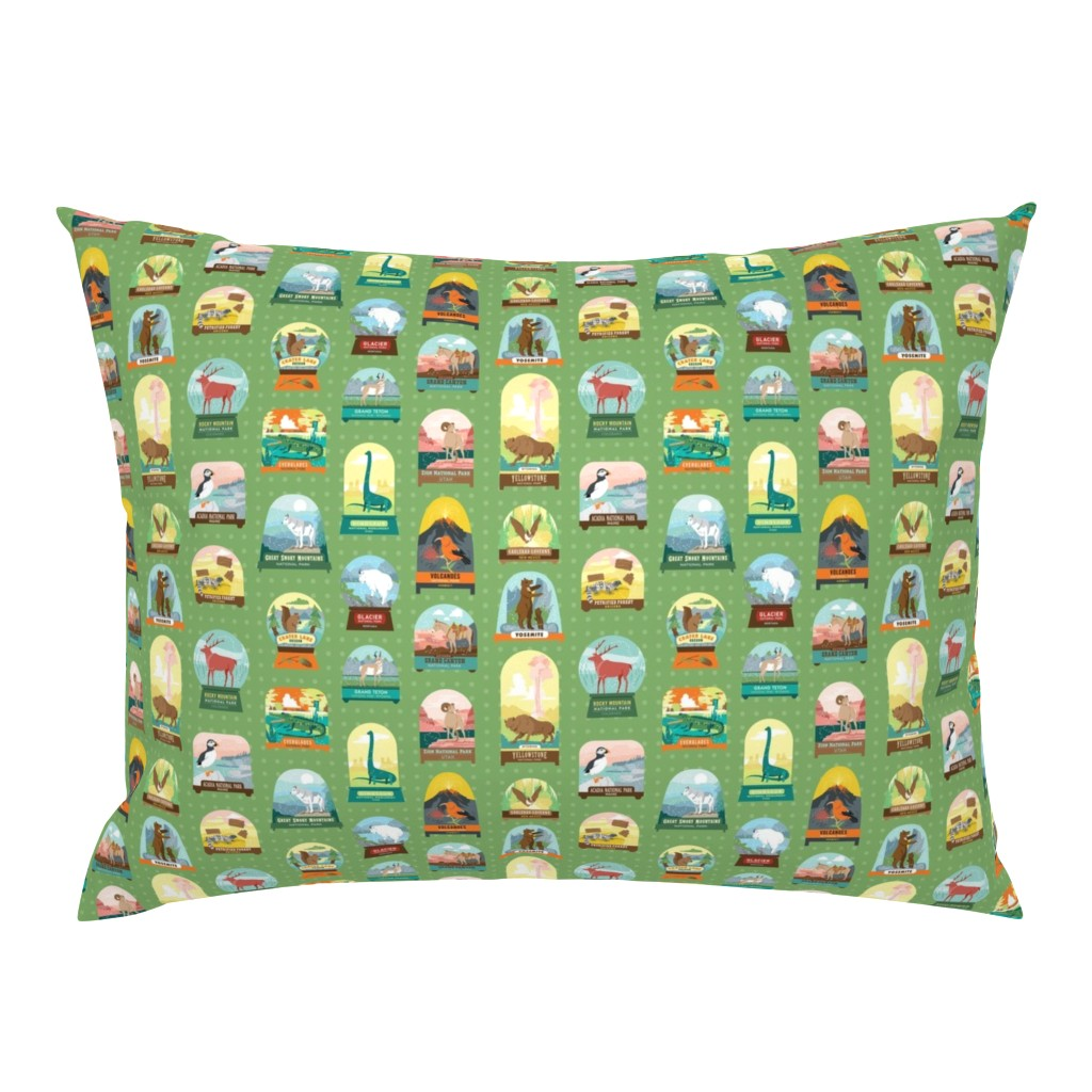 Campine Pillow Sham featuring National Parks Snow Domes in Green by pinkowlet