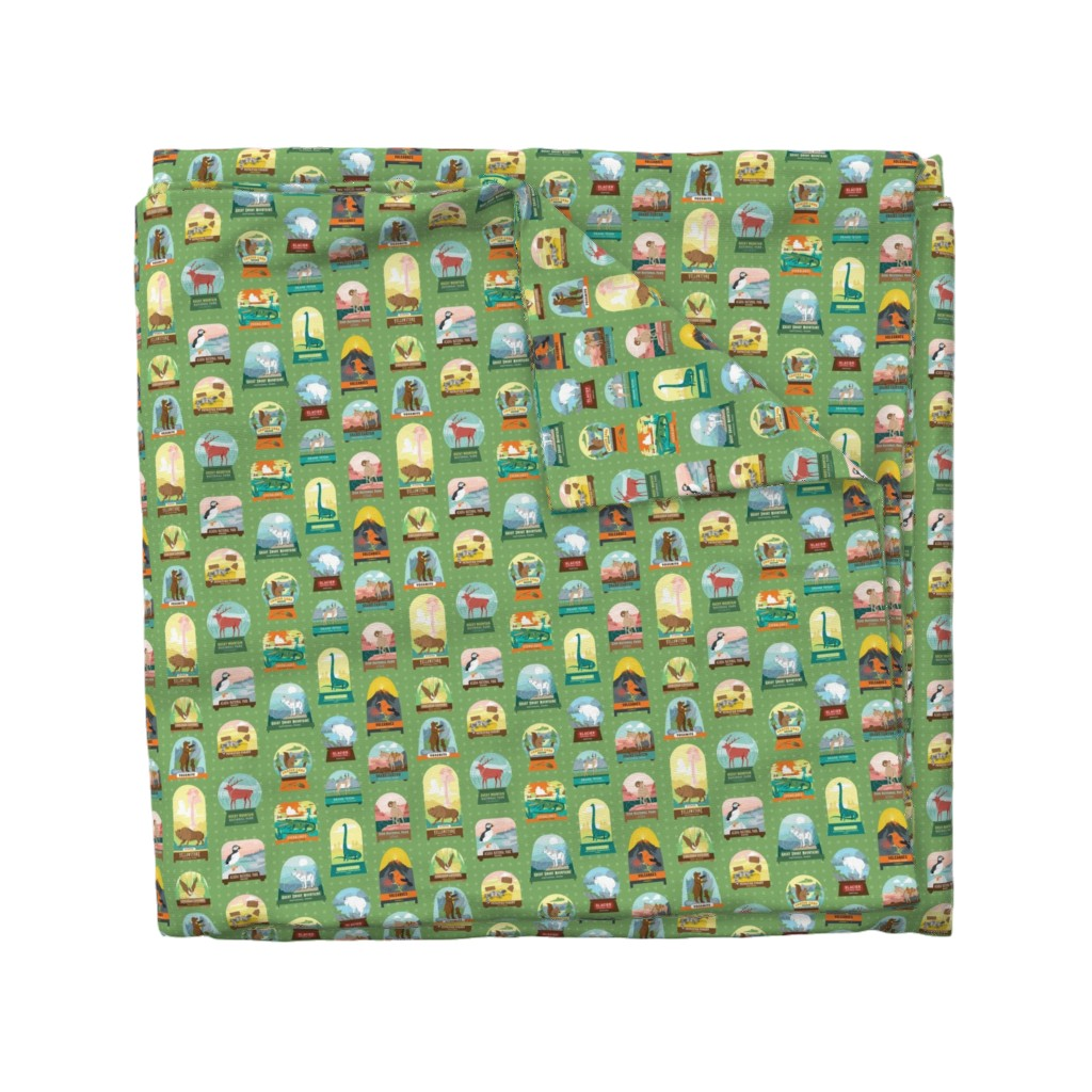 Wyandotte Duvet Cover featuring National Parks Snow Domes in Green by pinkowlet