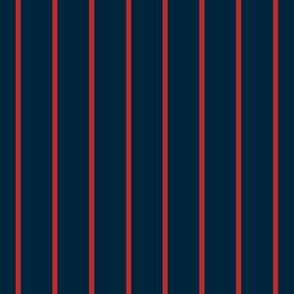 Baseball Pinstripes in Navy Blue and Red