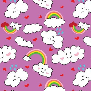 Kawaii Hearts, Rainbows, and Clouds in Orchid