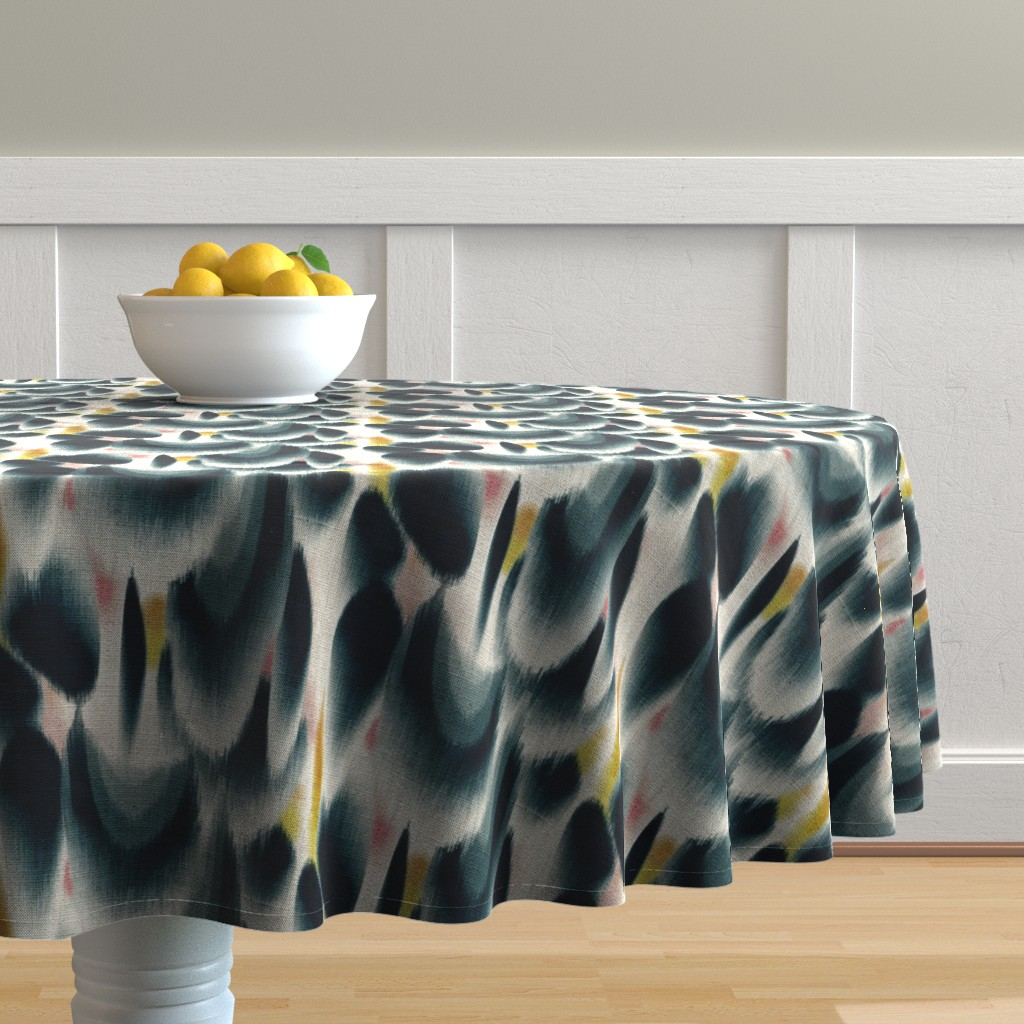Malay Round Tablecloth featuring Shibori Wing Spots (indigo) by nouveau_bohemian
