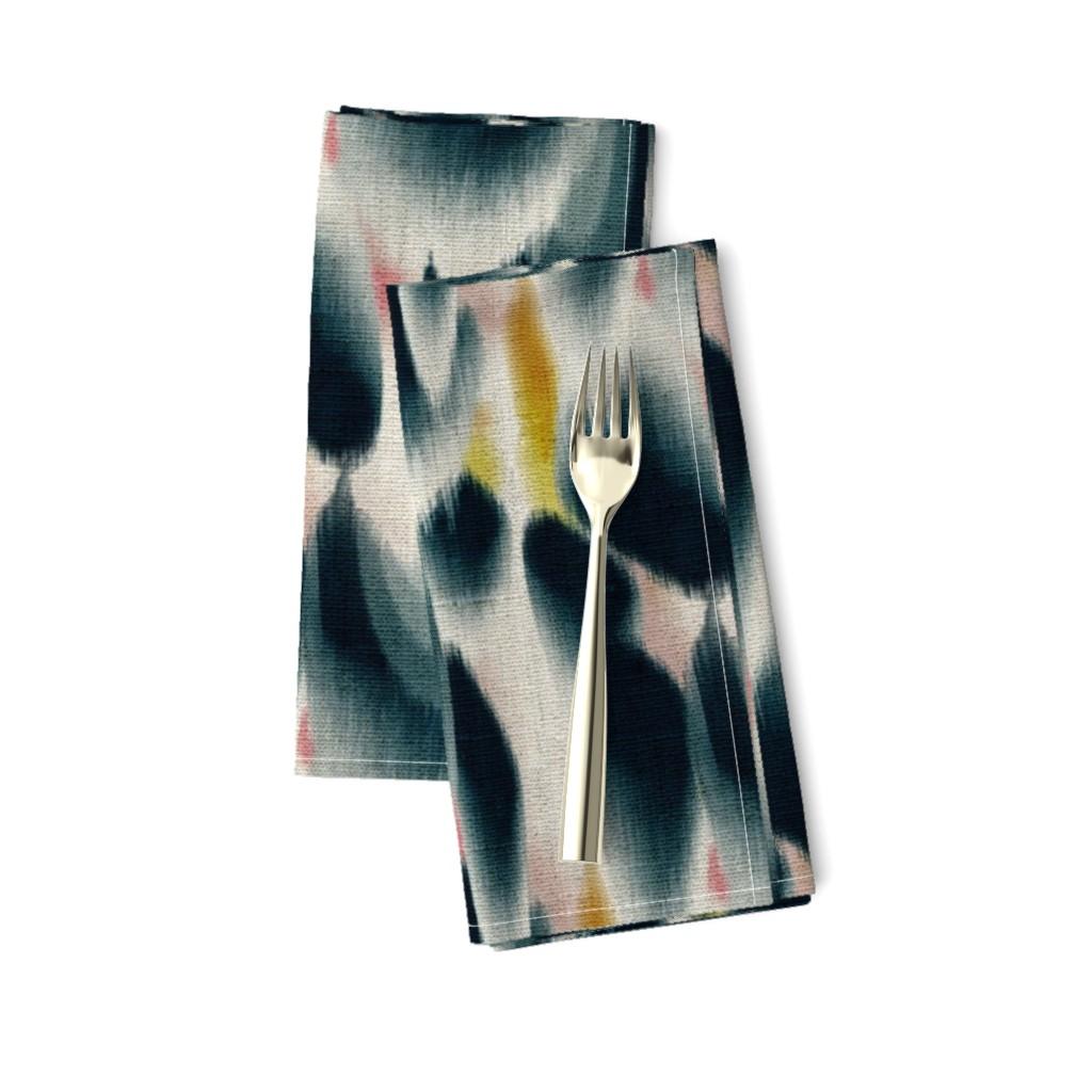 Amarela Dinner Napkins featuring Shibori Wing Spots (indigo) by nouveau_bohemian
