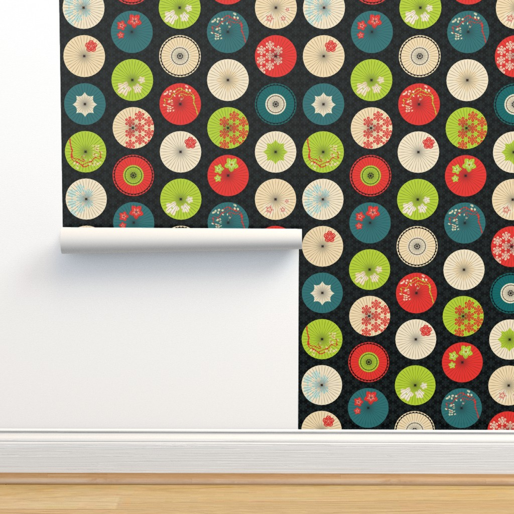 Isobar Durable Wallpaper featuring japanese umbrellas summer colors by pinkowlet