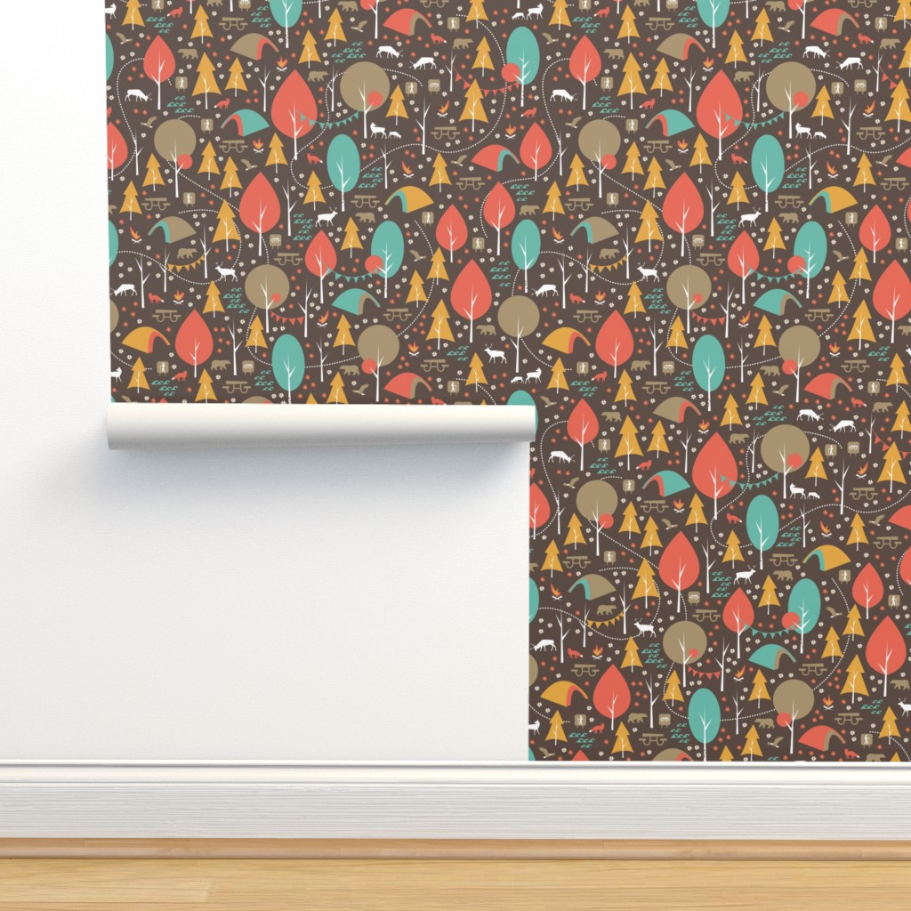 Isobar Durable Wallpaper featuring Camping in the Woods by papercanoefabricshop
