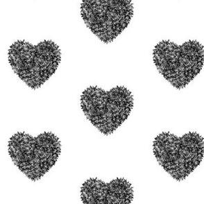 Fuzzy grey heart