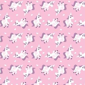 Cute pink unicorn horse illustration design tossed animal print