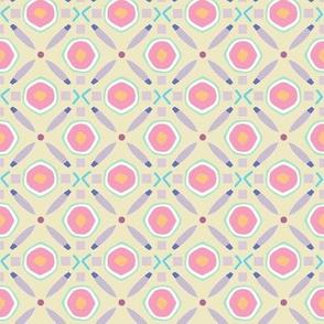 Diamond Circle Geo taupe and rose