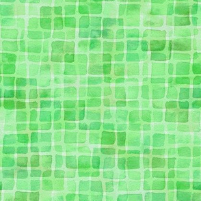 double watercolor squares in green