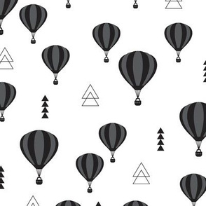 Geometric black and white hot air balloon triangle sky illustration scandinavian style fabric