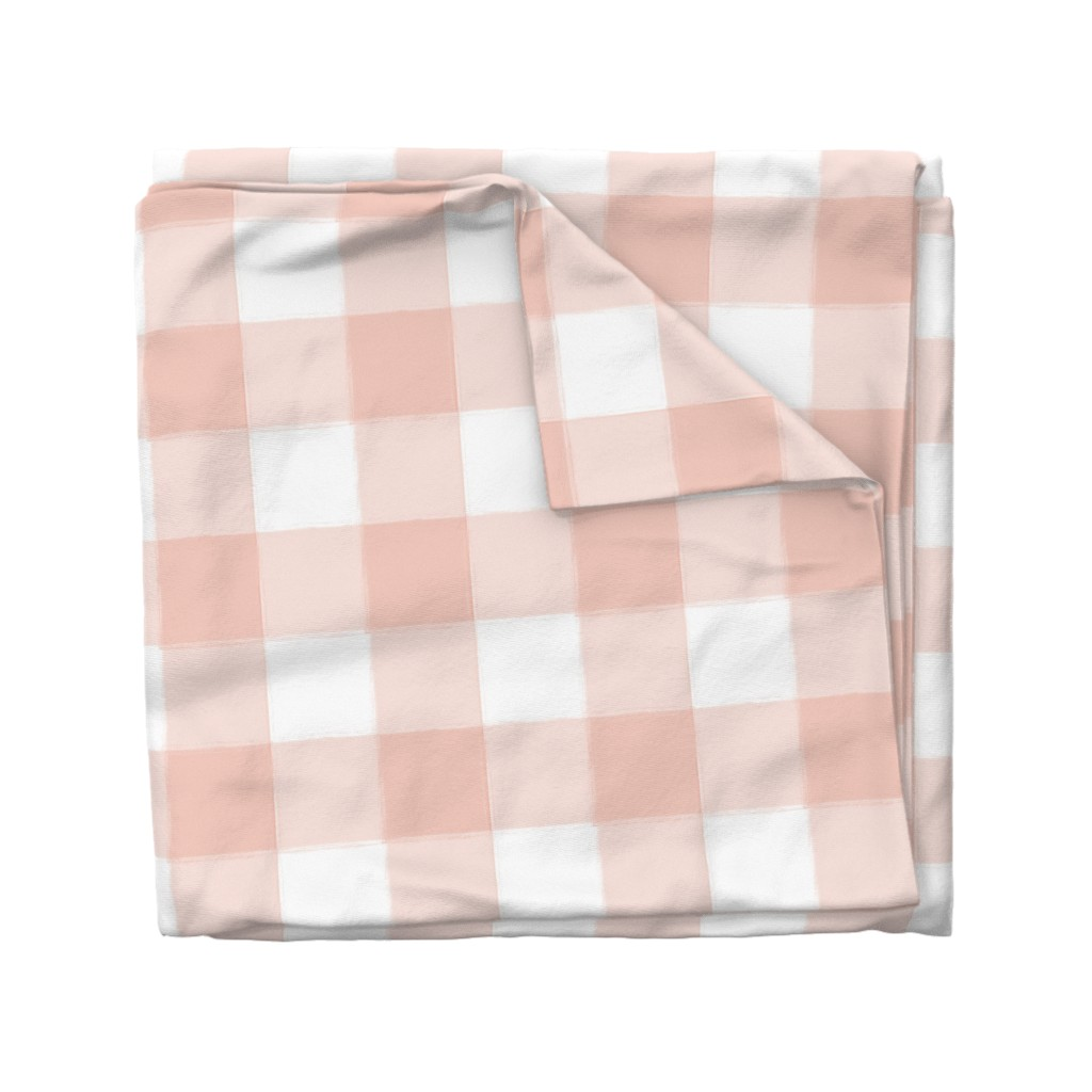 Wyandotte Duvet Cover featuring Large Blush Pink Buffalo Check Gingham by sugarfresh