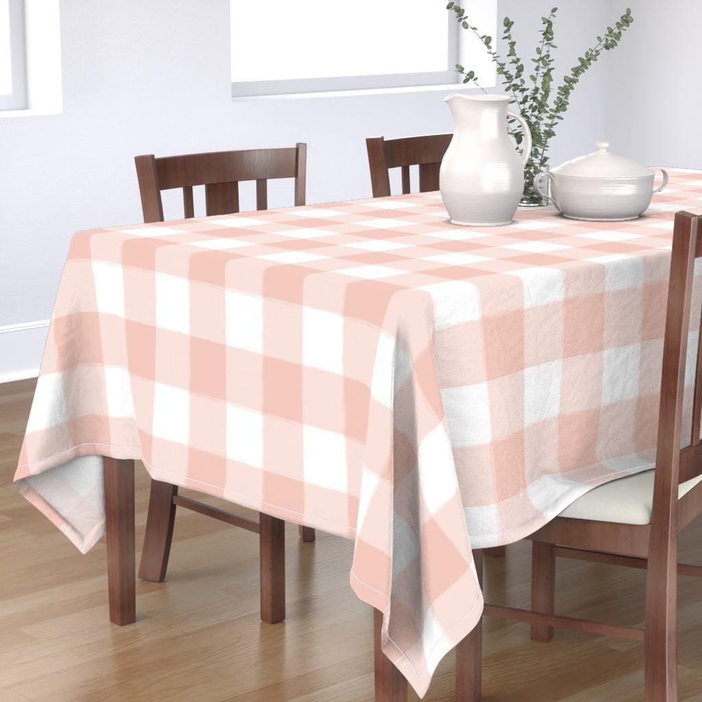 Bantam Rectangular Tablecloth featuring Large Blush Pink Buffalo Check Gingham by sugarfresh