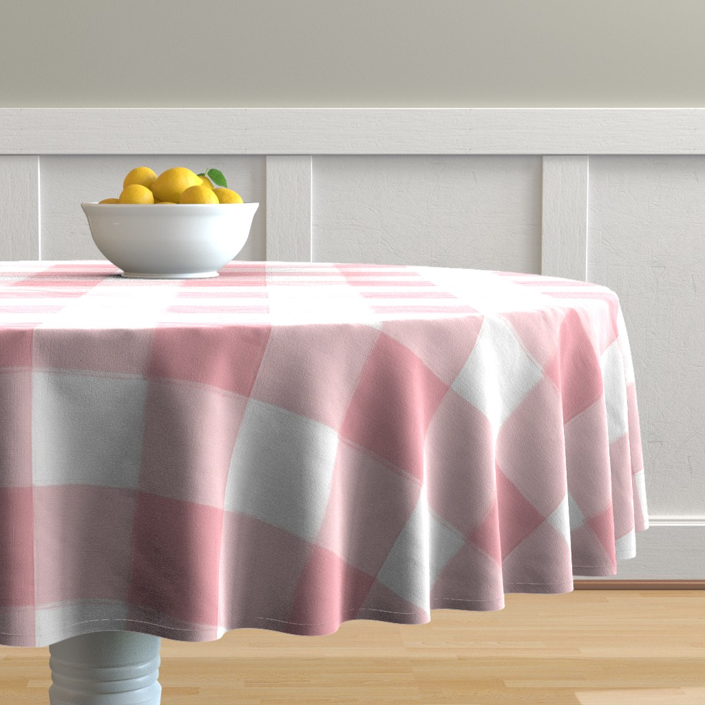 Malay Round Tablecloth featuring Large Perfect Pink Buffalo Check Plaid by sugarfresh