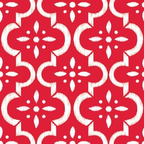 Lobster Red Ikat Moroccan Flower