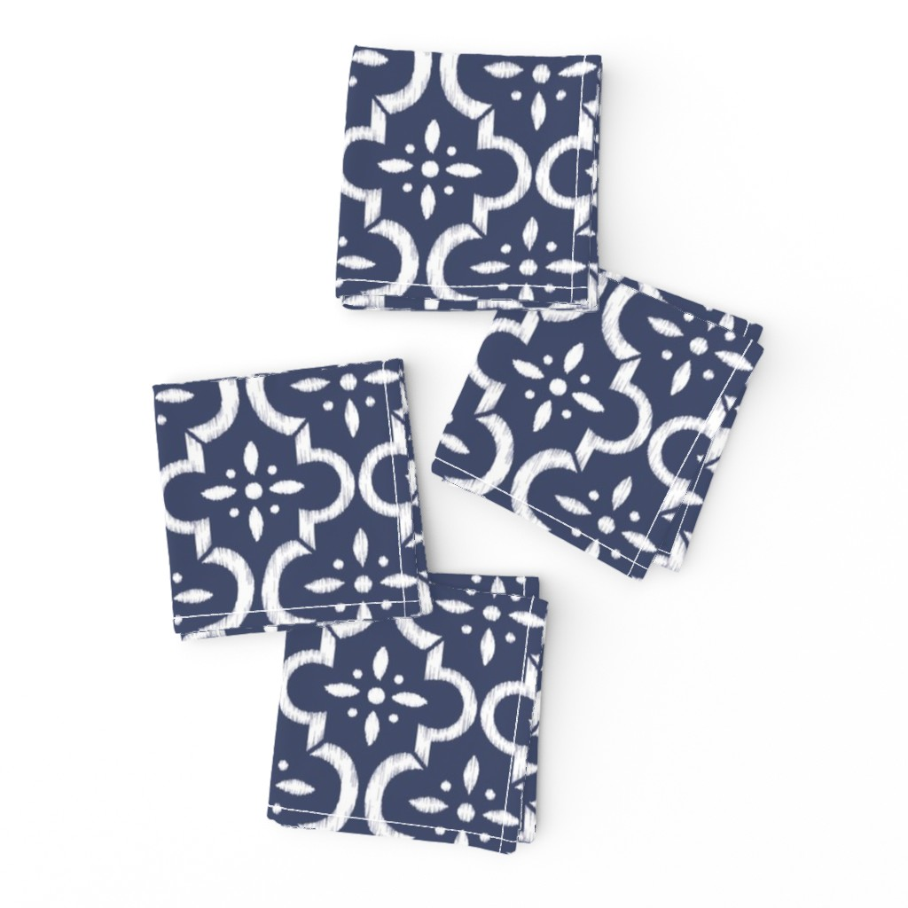 Frizzle Cocktail Napkins featuring Navy Ikat Moroccan Flower by sugarfresh