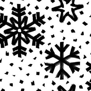 Snowflakes Dots – black white