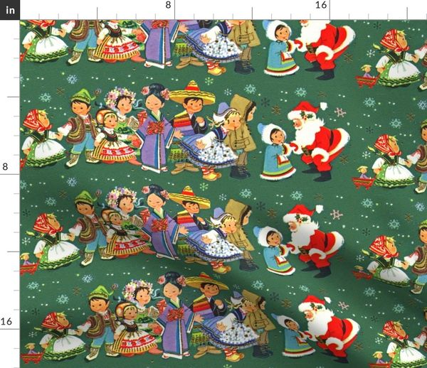 Merry Christmas In Dutch.Fabric By The Yard Merry Christmas Snowflakes Santa Claus Children Folk Traditional Costumes Eastern European Girls Boys Chinese Aprons Chile Mexico