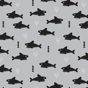 Cool gray geometric baby shark australian theme fish illustration in scandinavian gender neutral colors for kids